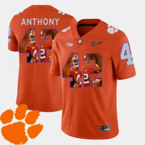 Mens Pictorial Fashion Football #42 Clemson Tigers Stephone Anthony college Jersey - Orange