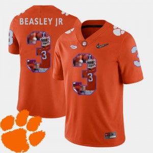 Men Clemson Football #3 Pictorial Fashion Vic Beasley Jr. college Jersey - Orange